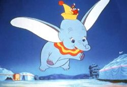 Disney Dumbo elephant in flight