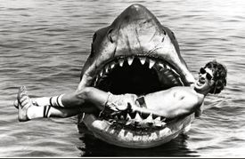 steven spielberg in jaws of bruce the shark