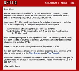streaming media and DVD price hike from netflix letter