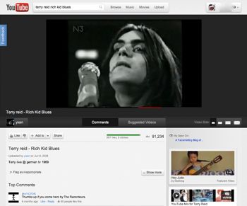 youtube redesign showing english singer