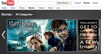 Movie VOD page on YouTube with Harry Potter